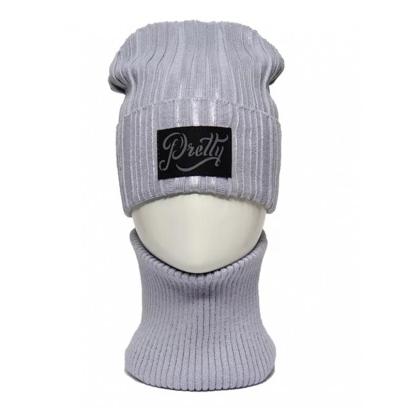 Шапка с трикотажным подкладом для девочки Pretty комплект со снудом 987852 Arabella 52-54(р)