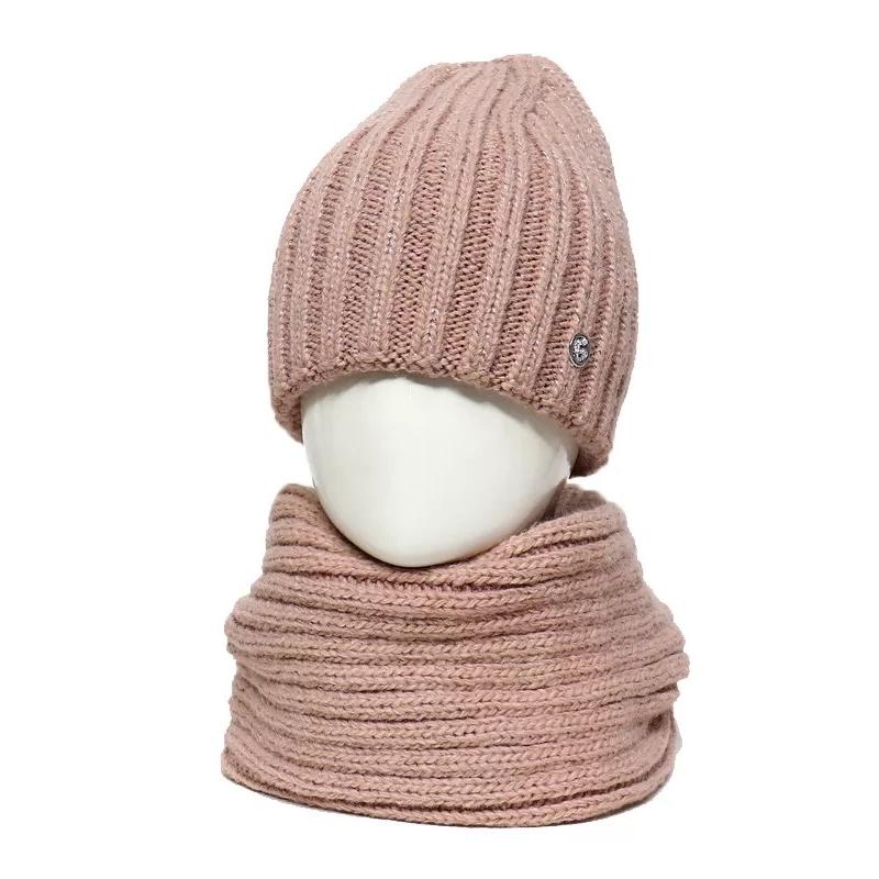 Шапка зимняя для девочки Лотос 04/20 комплект со снудом 987717 Galatex 54-56(р)