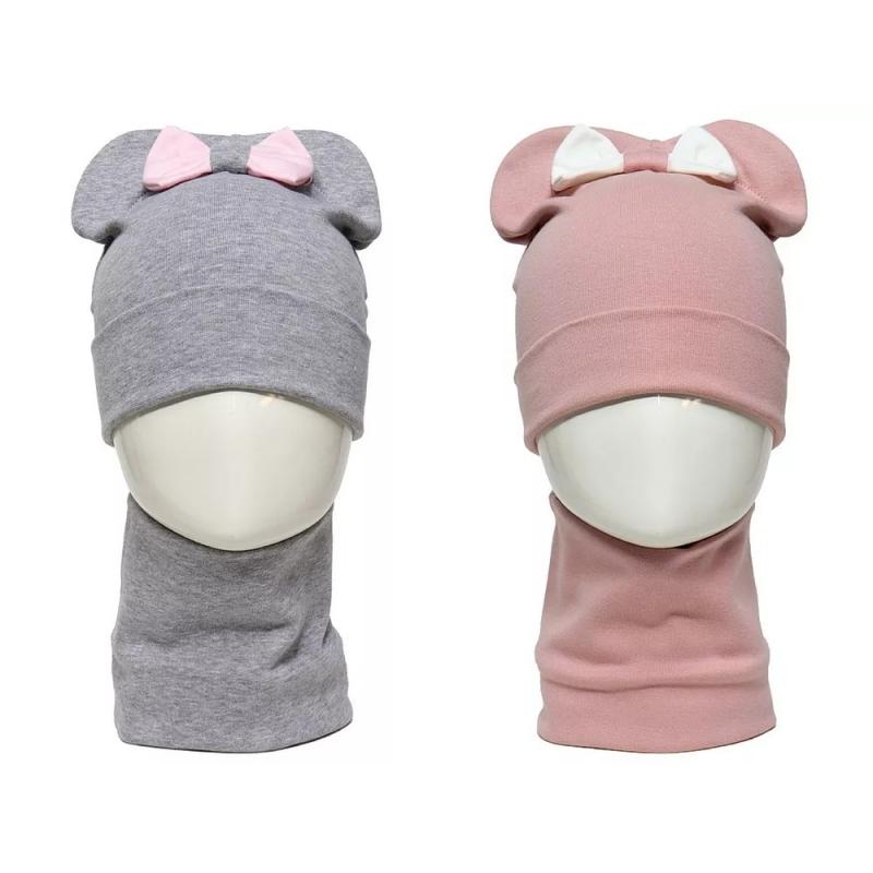 Шапка трикотажная для девочки, комплект со снудом Надежда 987911 Lamir