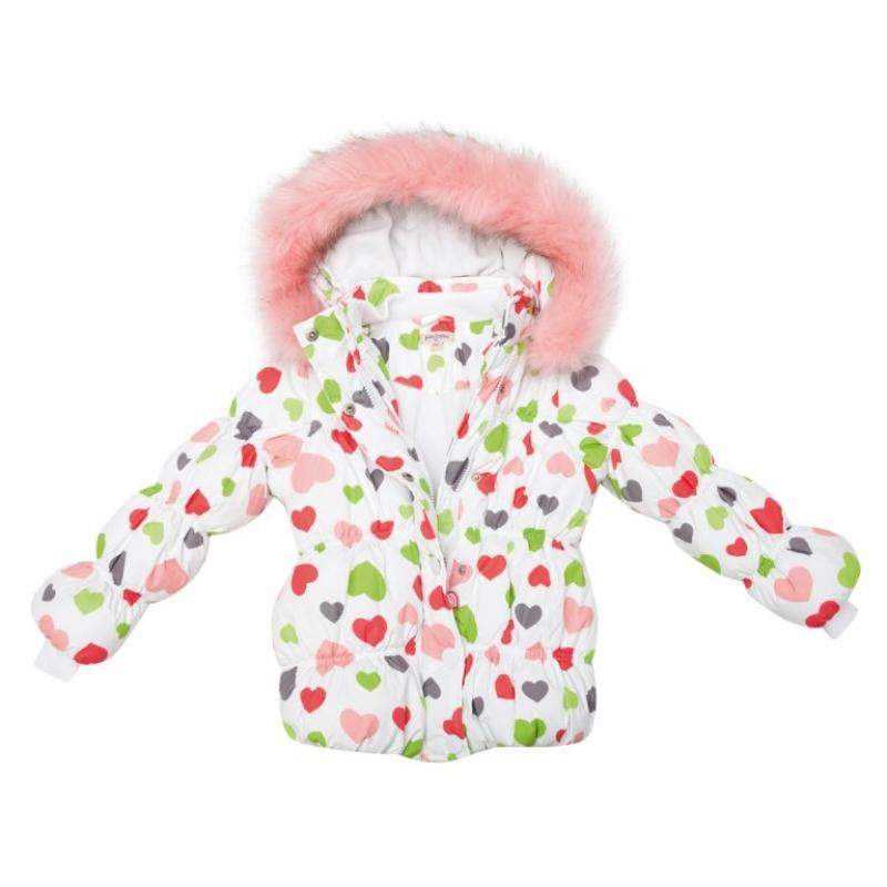 Куртка для девочки синтепон, -15, сердечки флис 342051 PlayToday