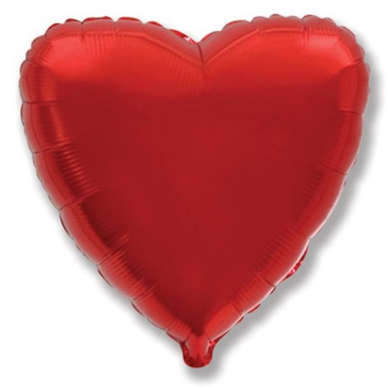 """Шар фольгированный с гелием, фигура сердце 18""""/45см Red 987140 Патибум"""