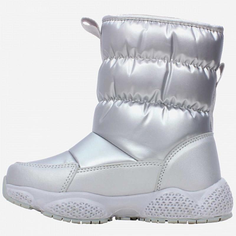 Сапоги для девочки дутики серебро 1160д-1 Капика/Kapika