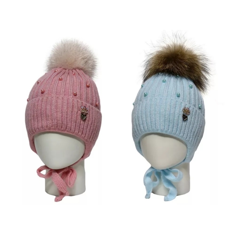 Шапка зимняя для девочки брошь-корона, мех 20/32 016 Madlen 52-54р.