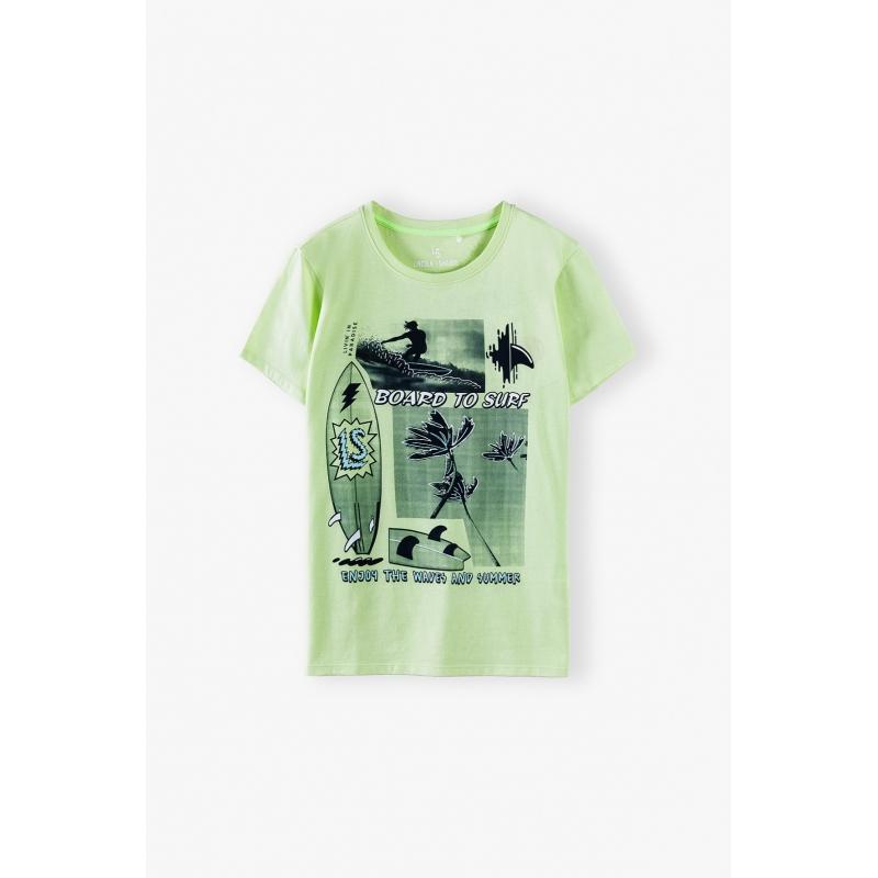 Футболка  для мальчика с коротким рукавом зеленый 2I4058 5.10.15 kids Польша