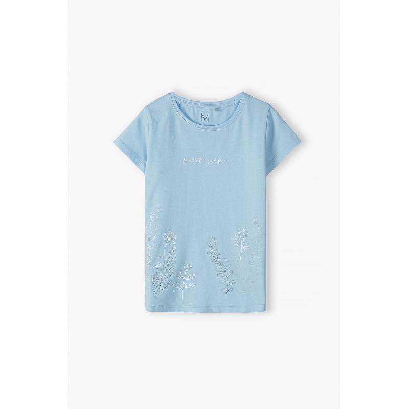 Футболка для девочки с коротким рукавом голубой 3I4016 5.10.15 kids Польша