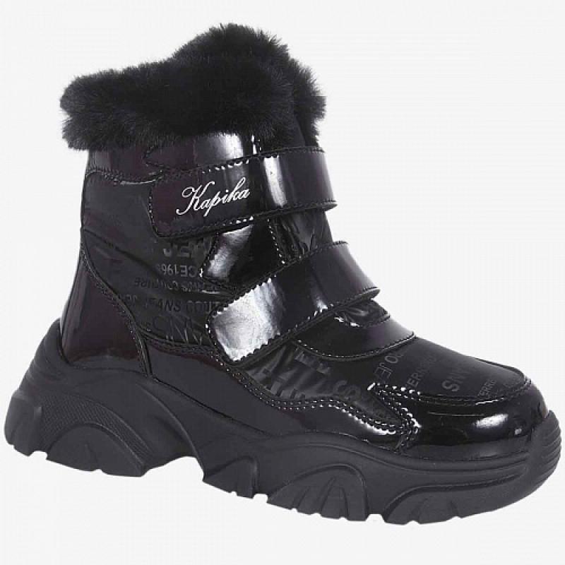 Ботинки для девочки черный мембрана 44243-1 Капика/Kapika