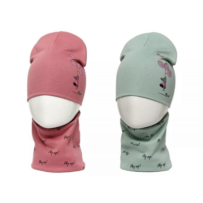 Шапка трикотажная для девочки комплект со снудом Fly up! 987914 Orhida 52-54(р)