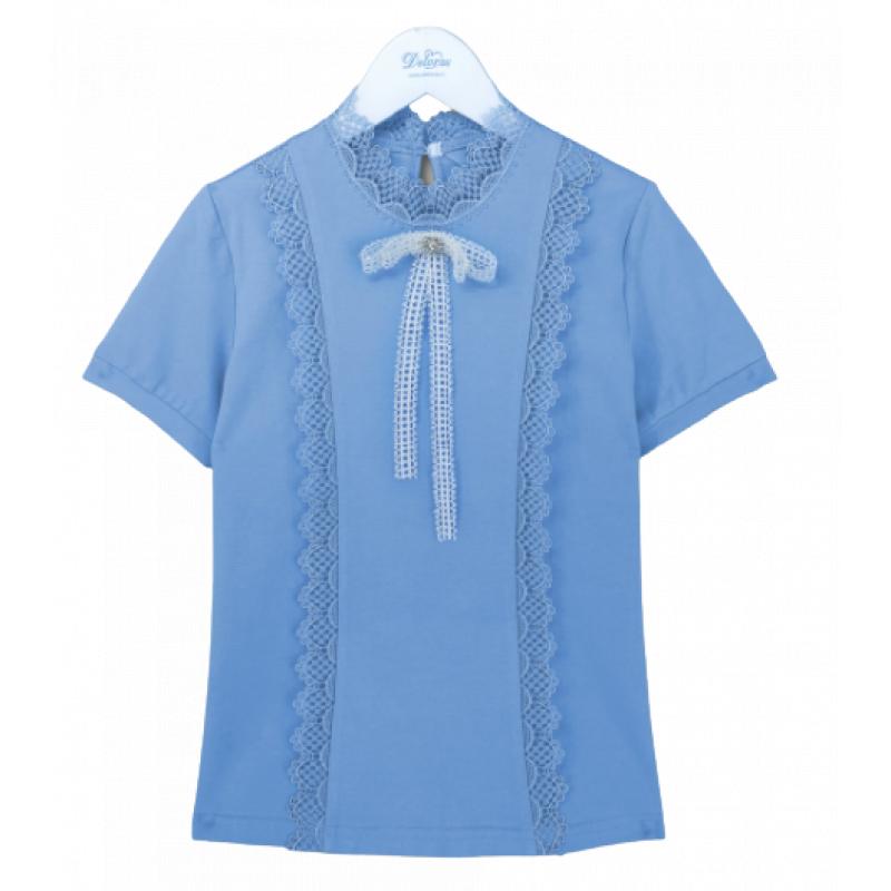 Блузка с коротким рукавом для девочки голубой трикотаж Z62957S Deloras