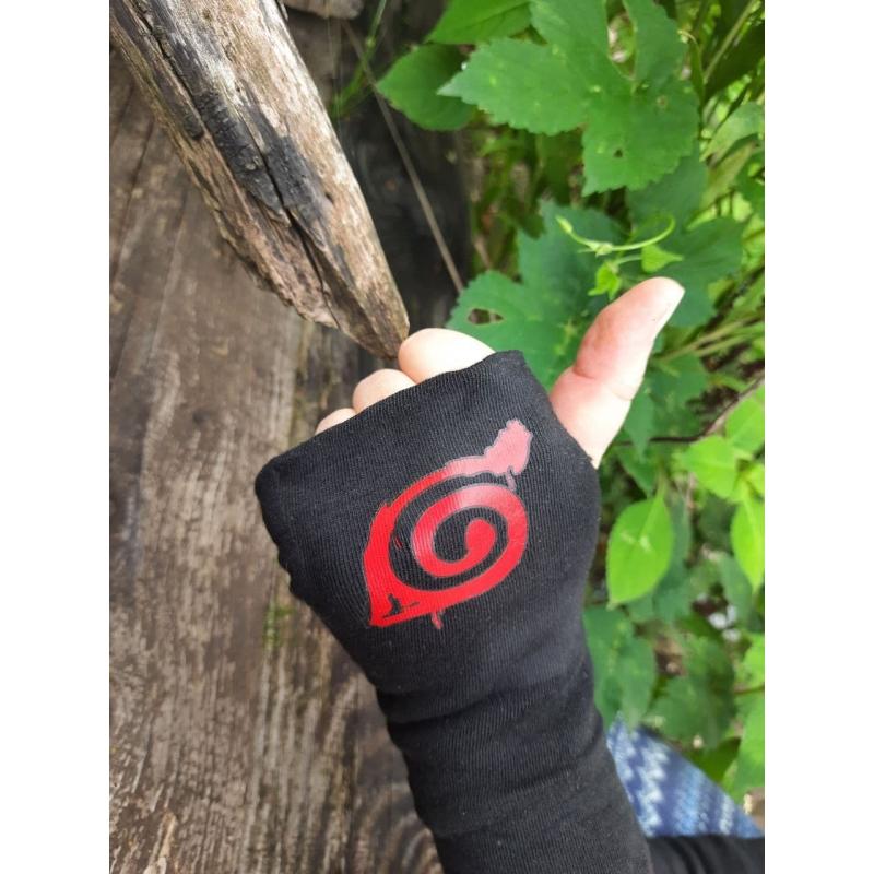 Карнавальный аксессуар, перчатки на половину ладони Наруто черный 993339 AnimeSh