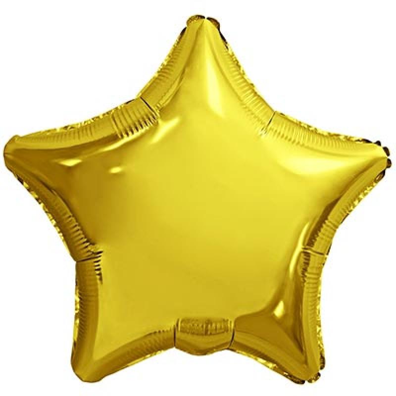"""Шар фольгированный с гелием звезда 18""""/45см металлик золото 1204-0623 AGURA"""